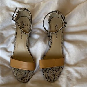 CL by laundry open toe reptile heels